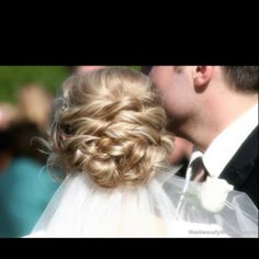 Low Updo Wedding Hair with Veil Underneath