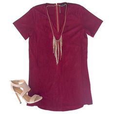 Absolutely in love with our NEW Spiced Berry Suede Dress $54  Paired with our Snake Fringe Necklace $21 & our Jesse Heel $42 SHOPALIYA.COM  #shopaliya #shoponline #weship #suede #nowtrending