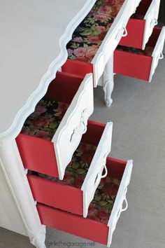 Diy desk 502995852117684641 - French Provincial Desk Makeover with Decoupage Drawers – Girl in the Garage Source by nourishnestle Refurbished Furniture, Paint Furniture, Repurposed Furniture, Furniture Projects, Luxury Furniture, Furniture Stores, White Furniture, Furniture Design, Barbie Furniture