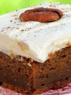 Spiced Pumpkin Bars with Whipped Cream Cheese Frosting