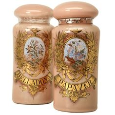 Pair of French pharmacy store displays, circa 1880. Made with mouth-blown glass and hand-painted inside and out.