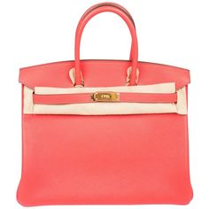 Pre-owned Hermès Birkin 35 Rouge Pivoine (1.027.000 RUB) ❤ liked on Polyvore featuring bags, handbags, red, studded purse, studded leather handbags, real leather purses, real leather handbags and genuine leather purse