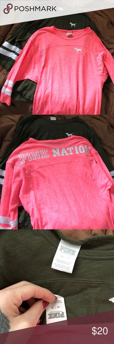 PINK shirts Two pink nation mid sleeve shirts. One pink one olive green. Bundle pack! Barely worn. PINK Tops