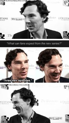 Benedict Cumberbatch on Sherlock series 3 lol he knows !!!! We're all going to die when we all see it !!