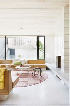 Brick House by Clare Cousins house design interior design house design room design Home Living Room, Living Room Designs, Living Spaces, Tapis Design, Terrazzo Flooring, Cement Floors, Australian Homes, Round Rugs, Style At Home