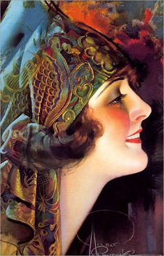Art Deco portrait of Flapper Girl by Rolf Armstrong Rolf Armstrong, Art Deco Illustration, Illustrations, Portrait Illustration, Arte Art Deco, Art Deco Era, Posters Vintage, Art Deco Posters, Retro Posters