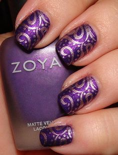 Matte Purple and Chrome Pink Konad Manicure