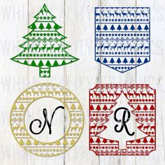 Digital File - Christmas Pattern Designs for Monogram SVG, DXF, png and eps Commercial & Personal Use