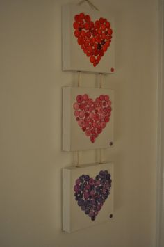 Beautiful handmade button hearts canavs by SimplyCraftDee on Etsy, £25.00