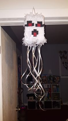 Mini ghast minecraft pull string Pinata I made for my son's 5th birthday.