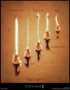 Lineage II weapon set concept - Swords by GaudiBuendia on deviantART Prop Design, Game Design, Harry Potter Drawings, Medieval Weapons, Weapon Concept Art, Armor Concept, Arm Armor, Fantasy Weapons, Character Design Inspiration