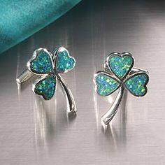 Green Opal Shamrock Cufflinks