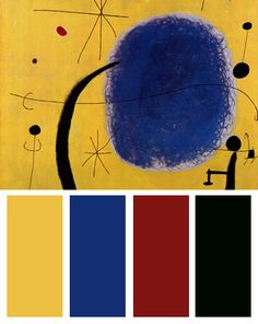Yellow Color Palette Inspired By: L'Oro Dell'Azzurro, Art Print by Joan Miro