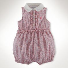 Floral Cotton Shortall - Baby Girl One-Pieces - RalphLauren.com