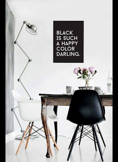 "Deine Wanddeko: Poster in Schwarz-Weiß mit lustigem Spruch als modernes Wohnaccessoire / your wall decor: poster in black and white with funny saying as modern home accessory, ""Black is such a happy color darling"" made by LovelyDecor via DaWanda.com"