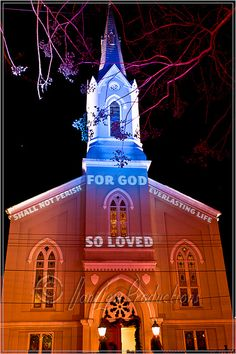 light show on Fredericksburg Baptist Church