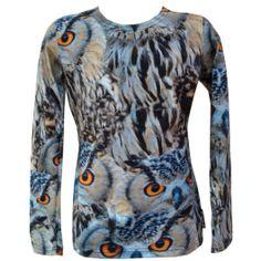 Tof shirt voor op een zwart of blauw rokje!  Wild kinderkleding shirt blauw uilen #kinderkleding #zazou