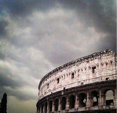 Colosseum with overcast sky