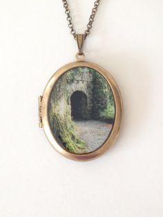 Irish Castle Door Large Locket  'Emerald Morning'  Fine by Lothirielle