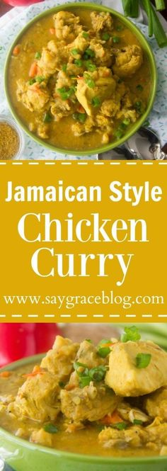 This Authentic Jamaican Style Chicken Curry recipe is loaded with traditional island flavor and will keep you begging for more and more!(Chicken Soup With Potatoes) Jamaican Dishes, Jamaican Recipes, Carribean Food, Caribbean Recipes, Jamaican Curry Chicken, Yellow Curry Chicken, Caribbean Curry Chicken, Chicken Curry Stew, Jamaican Soup