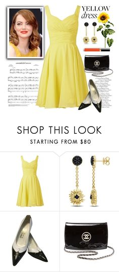"""""""Yellow Dress in La La Land"""" by conch-lady ❤ liked on Polyvore featuring Versace 19•69, Salvatore Ferragamo, Chanel, yellowdress and lalaland"""