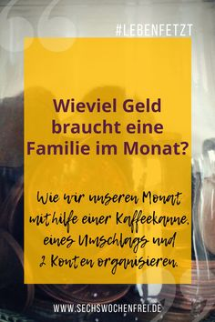 Wie viel Geld braucht eine Familie im Monat? Wir fragen: … How much money does a family need each month? We do not know either. We ask: how do we become happy with the money we have. Money Management Books, Management Tips, Money Tips, Money Saving Tips, Budget Planer, Family Budget, Budgeting Finances, Investing Money, Finance Tips