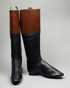 Pair of men's leather riding boots, 1790-1800.  LACMA