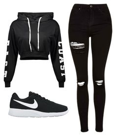 """Untitled #508"" by cuteskyiscute ❤ liked on Polyvore featuring Topshop and NIKE"