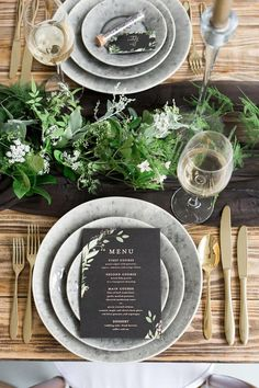 Luxe Black Greenery Wedding Inspiration - tablescape