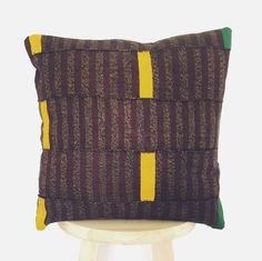 Authentic Vintage African Kente Cloth Pillow  'ADO' by CacoandKai