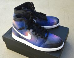 These custom Hand Painted Jordan 1 Retro Sneakers feature a my signature galaxy pattern all around the shoes. No two pairs are the same and your pair will look unique, not exactly like this pair. This