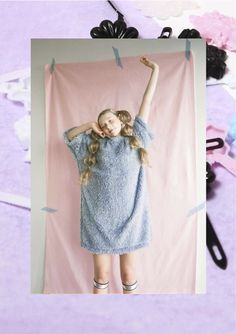 Pastel faux fur smock dress- Somewhere Nowhere