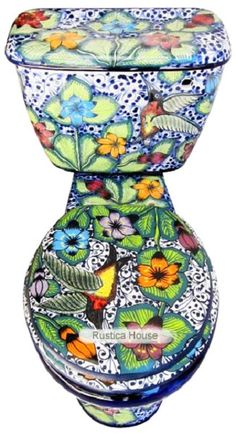 Mexican toilet with closed lid. Rustica House hand painted Colibri pattern. #myrustica #rusticahouse
