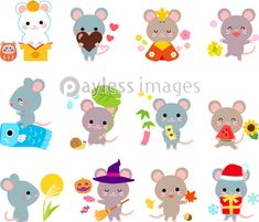 ネズミの12か月間イラストセットの写真・イラスト素材 (xf3975327756) │ペイレスイメージズ Mouse Illustration, Chinese New Year 2020, Year Of The Rat, Drawing For Kids, Coloring Pages, Hello Kitty, Banner, Scrapbook, Cartoon
