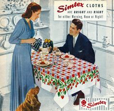 Simtex tablecloth ad from 1948 featuring a beautiful strawberry print design. Note the cocker spaniel. 1940s Decor, Vintage Decor, Vintage Antiques, Design Vintage, Vintage Furniture, Vintage Advertisements, Vintage Ads, Vintage Images, Vintage Housewife