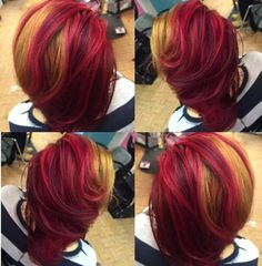 Blonde and pink red hair Beautiful Hair Color, Cool Hair Color, Hair Colors, Dope Hairstyles, Weave Hairstyles, Hairstyle Ideas, Dyed Natural Hair, Dyed Hair, Mixing Hair Color
