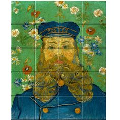 Portrait of Joseph Roulin Joseph Roulin worked as the postmaster at the station in Arles. Van Gogh went there frequently to send paintings to his brother Théo in the Netherlands and they became close friends. Full Beard, Decorative Tile, Summer Flowers, Vincent Van Gogh, Brush Strokes, Art Reproductions, Masters, Poppies, Joseph