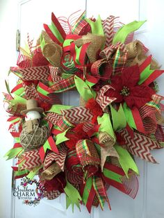 Deco Mesh Christmas Burlap Wreath for door by SouthernCharmWreaths