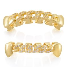 Our Iced Cuban Grillz feature the style and eye-popping appearance from traditional Cuban curbs mixed in with handset VVS Diamond Simulate stones to provide a new twist on two iconic streetwear pieces. Diamond Grillz, Grillz Gold, Vampire Grillz, Hip Hop Grillz, Dental, Grills Teeth, Gold Teeth, Solid Gold Jewelry, High Cut Bikini