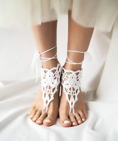 Beaded Wedding Barefoot Sandals, White Crochet Beach Sandles, Boho Anklet Jewelry, Bare Foot Dance Nude Shoes, Victorian Lace Steampunk Yoga...