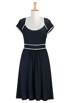 Contrast trim cotton knit dress from eShakti