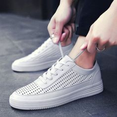 WHITE Tie Up Breathable Faux Leather Casual Shoes 43