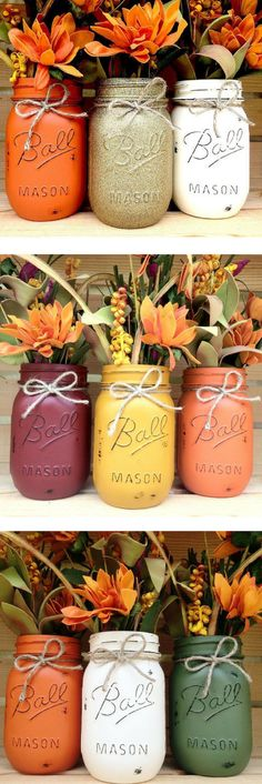 Mason Jar Trio, Autumn, Home Decor, Fall Decor, Thanksgiving, Centerpiece, Fall Wedding, Fall Centerpiece, Halloween Decor, Pumpkin, set of 3 #ad #affiliatelink