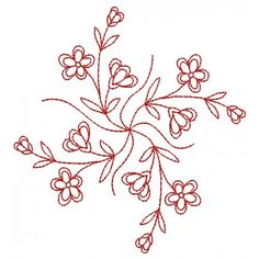 Blossoming Borders Redwork 1 - SEW QUICK SALE | Machine Embroidery Designs
