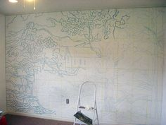 paint by numbers inspired wall mural. i think i prefer the guide over the finished product.