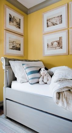 Charming Bedroom, so cute for a child of any age or a guest room...love the Bed & the pop of yellow on the walls and trim color