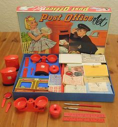 Vintage Berwick Post Office Set 1968 Toy Town Bank with Original Boxed.I had hours of fun playing with this - loved it! 1970s Childhood, My Childhood Memories, Great Memories, 1960s Toys, Retro Toys, Vintage Games, Vintage Dolls, Gi Joe, It's All Happening