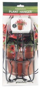 Plastec PH101BK Adjustable Plant Hanger by Plastec. $13.48. Welded steel construction. Auto-adjusted to almost any size or shape planter. Black finish. Extra sturdy weatherproof cord. This plant hanger is the best alternative to the macramé hanger. it auto adjusts to nearly every symmetrical shaped pot and will hold it secure by the force of it's own weight. the rope is weather proof and the uprights are powder coated steel. the shape complements any style planter.