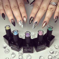 @uglyducklingnails Work with LOVE  #yegnails #❄️#yegnails #closeup # ALL DONE BY FREEHAND #edmontonnails #clientview #780nails #edmontonnailtech #cute #fade #edmlifestyle #edm #swarovski #blingnails #acrylicnails #fullset #yegnailtech #lacenails #nails #handpainted #freehanddesign #colors #nailart #no19 #vetrogel #silverleaf #goldleaf #nails