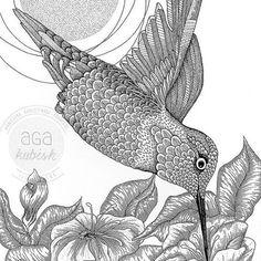 """Ptasiek z mojej #kolorowankidladorosłych """"W powietrzu"""". Taka pogoda, a u nas ospa :/ słonko oglądamy tylko zza szyby :( #agakubish #posters #kolorowanki #coloringbook #hummer #koliber #bird #feather #graphic #design #illustration #ink #art #artwork #flower #floral #agakubish #antystresowe #drawing #sketch #doodle #dotwork"""